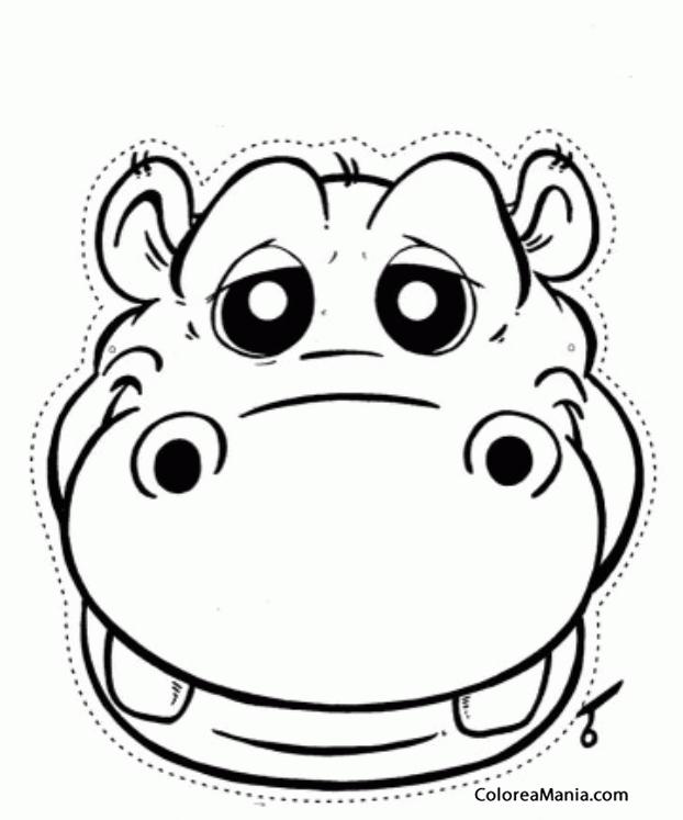 Colorear Máscara de Hipopótamo (Máscara. Careta. Antifaz ), dibujo ...