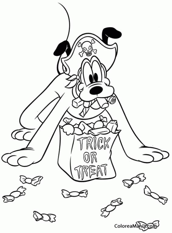 Colorear Pluto disfrazado de pirata. Halloween (Pluto), dibujo para ...