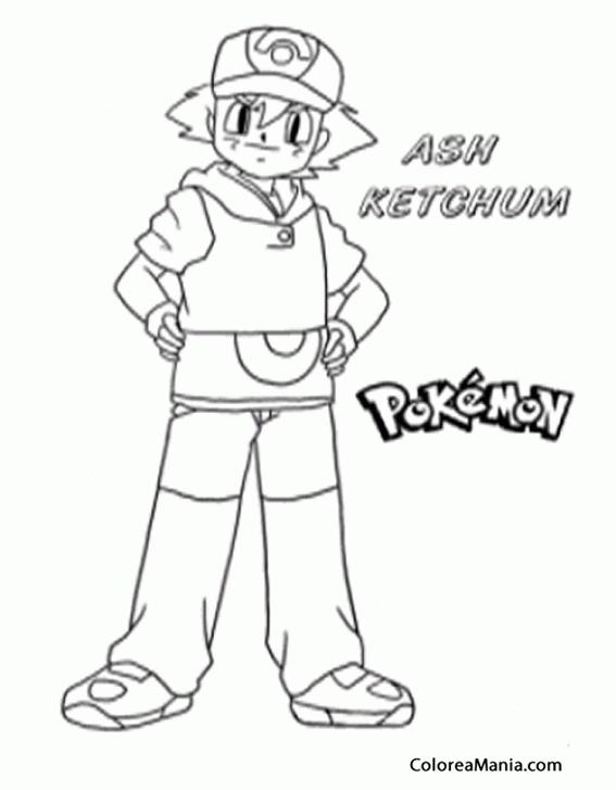 Colorear Ash Pokemon dibujo para colorear gratis