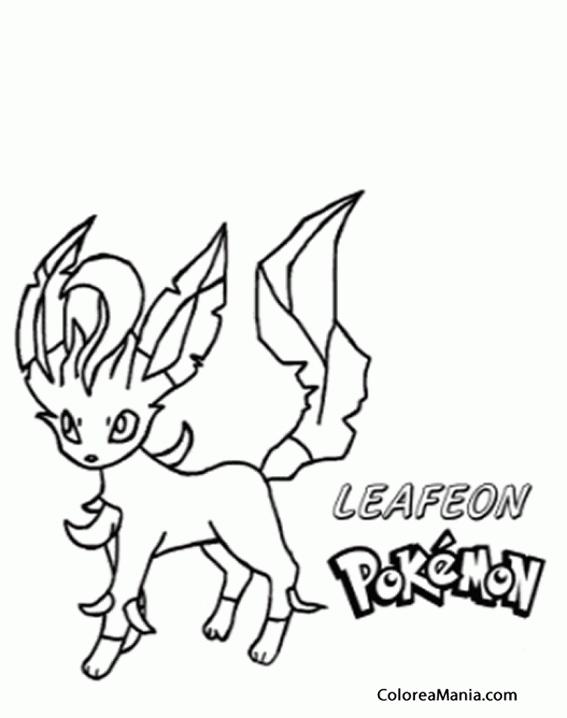 Colorear Leafeon (Pokemon), dibujo para colorear gratis