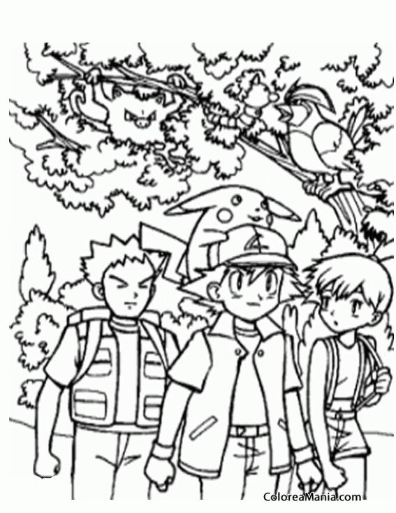 Colorear Ash Picachu y sus amigos Pokemon dibujo para colorear