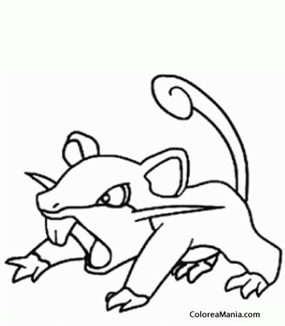 Colorear Rattata (Pokemon), Dibujo Para Colorear Gratis