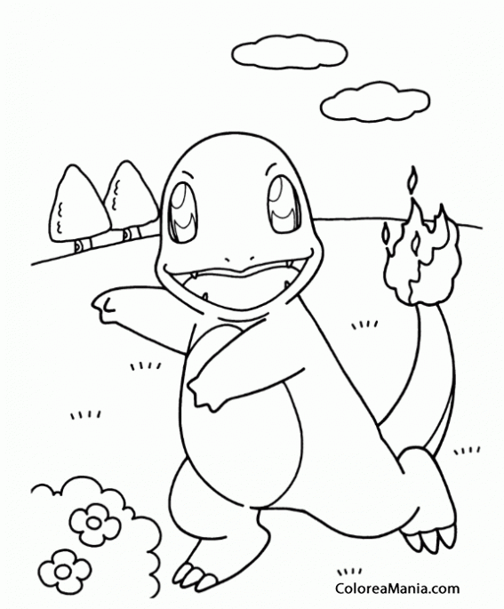 Colorear Charmander (Pokemon), Dibujo Para Colorear Gratis