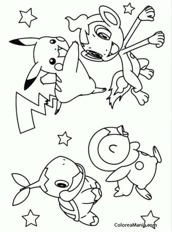Colorear Pikachu y sus amigos (Pokemon), dibujo para ...