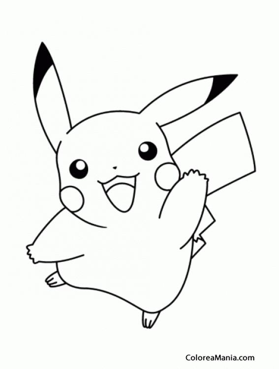 Colorear Pikachu Te Saluda Pokemon Dibujo Para Colorear Gratis