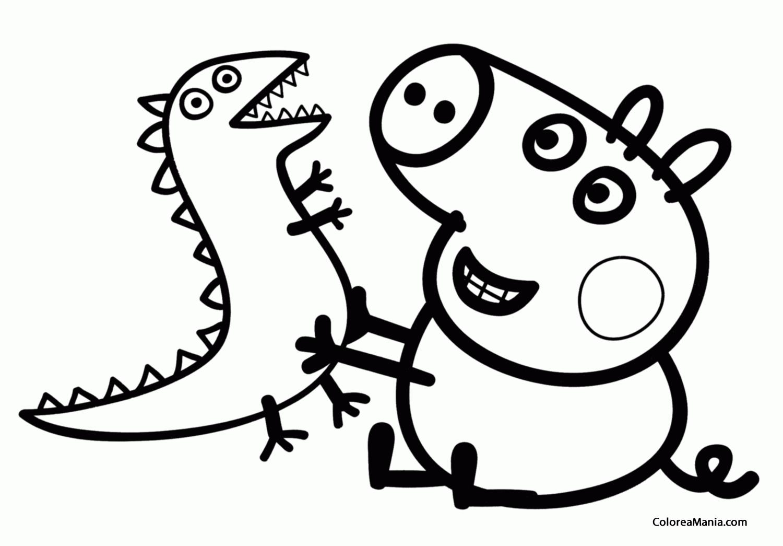 Colorear George Con Su Dinosaurio Peppa Pig Dibujo Para