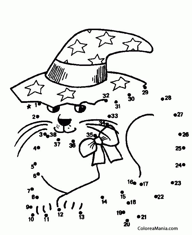 Colorear Gato con lazo y sombrero (38) (Animales), dibujo para ...
