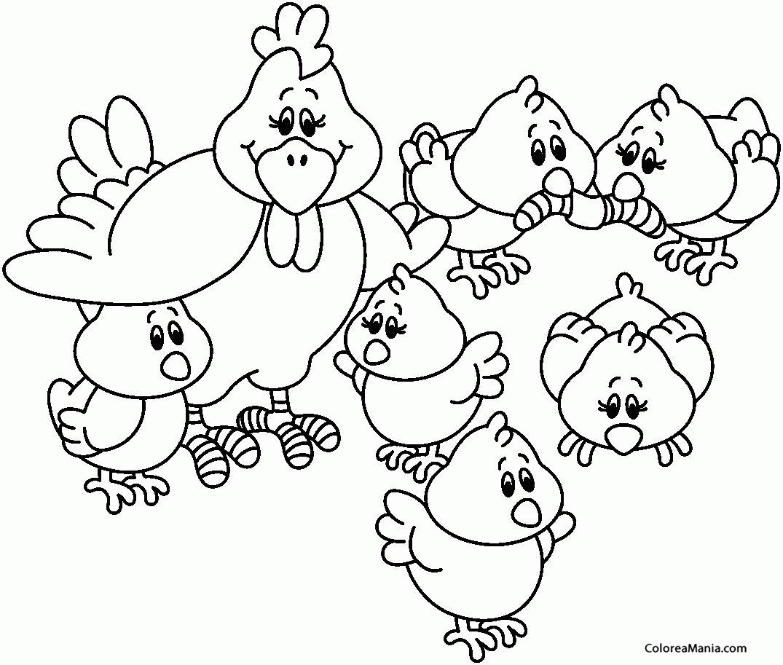 Colorear Gallinas con sus pollitos (Animales de Granja), dibujo para ...