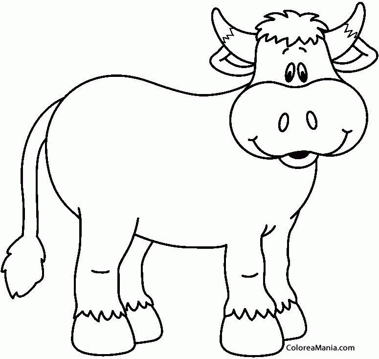 Colorear Vaca Sonriendo Animales De Granja Dibujo Para Colorear