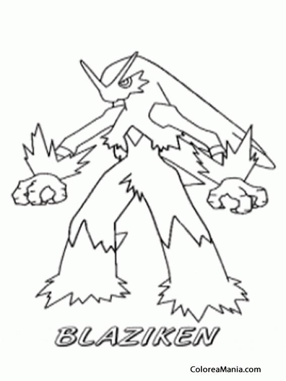 Colorear Blaziken (Pokemon), dibujo para colorear gratis