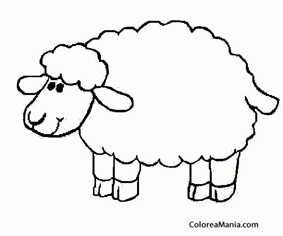 colorear oveja sonriendo