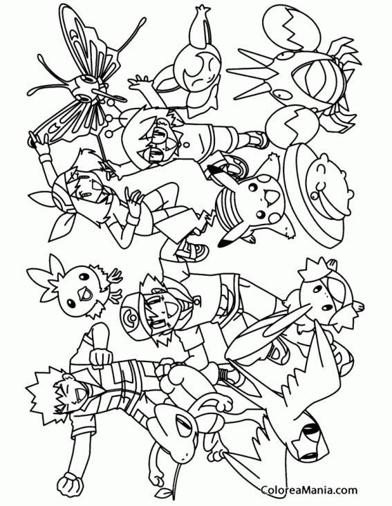 Colorear Grupo Pokemon (Pokemon), dibujo para colorear gratis