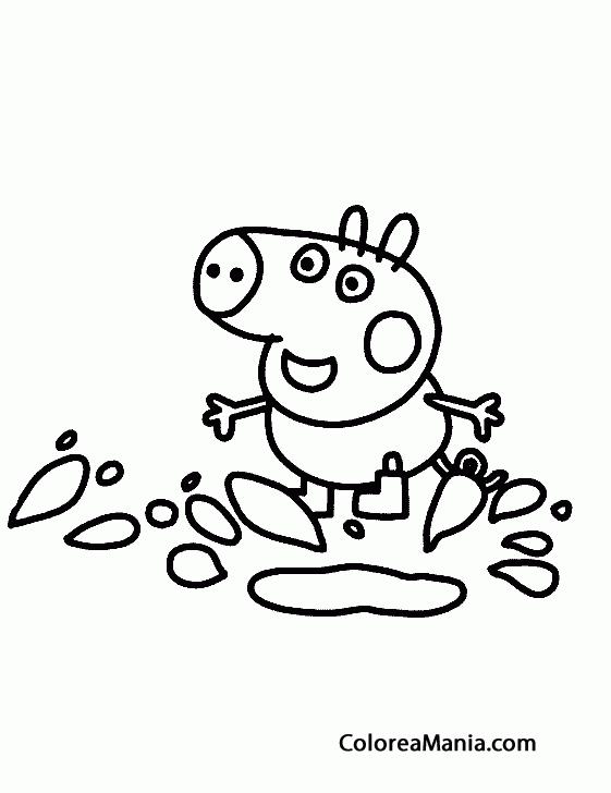 Colorear George Saltando Charcos Peppa Pig Dibujo Para Colorear