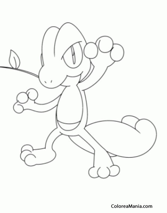 Colorear Treecko con mano levantada (Pokemon), dibujo para colorear ...