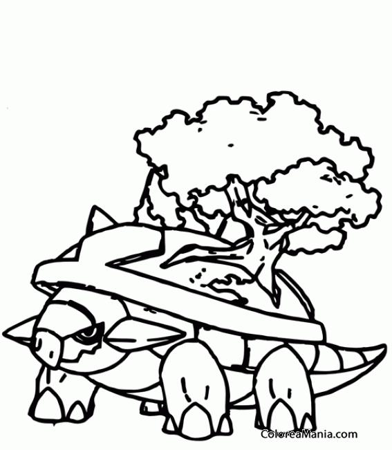 Colorear Torterra Con árbol (Pokemon), Dibujo Para