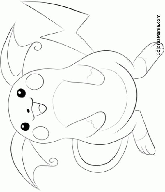 Colorear Raichu (Pokemon), Dibujo Para Colorear Gratis