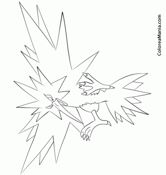 Colorear zapdos 2 pokemon dibujo para colorear gratis for Zapdos pokemon coloring pages