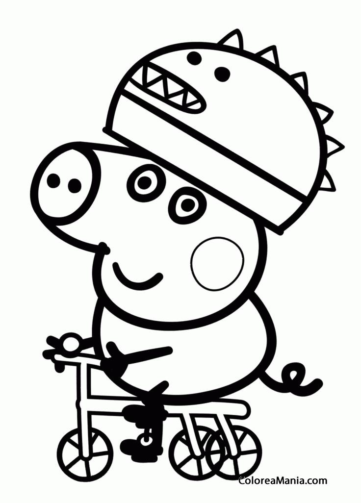 Colorear George En Bicicleta Peppa Pig Dibujo Para Colorear Gratis