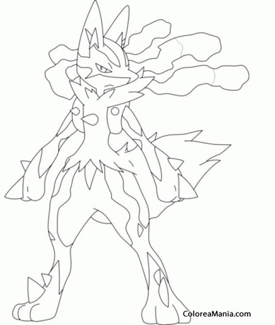 Colorear Mega Lucario. Generation IV Pokemon (Pokemon