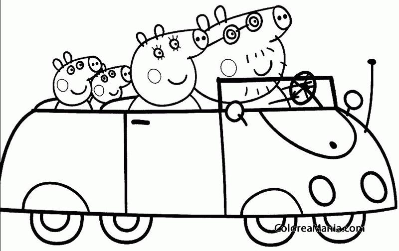 peppa pig para colorear. Colorear Familia Peppa Pig en auto  dibujo para colorear
