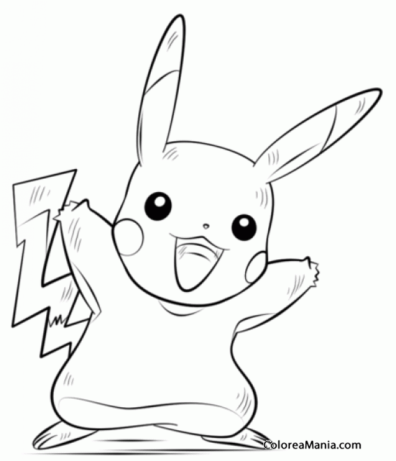 Colorear Pikachu Pokemon. Generation I Pokemon (Pokemon), dibujo ...
