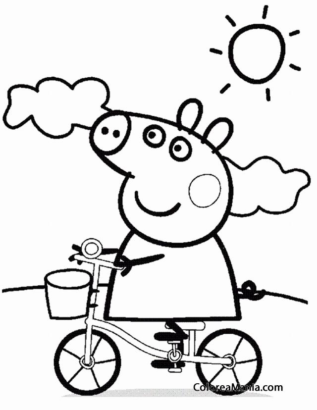 Colorear Peppa Pig En Bicicleta Peppa Pig Dibujo Para