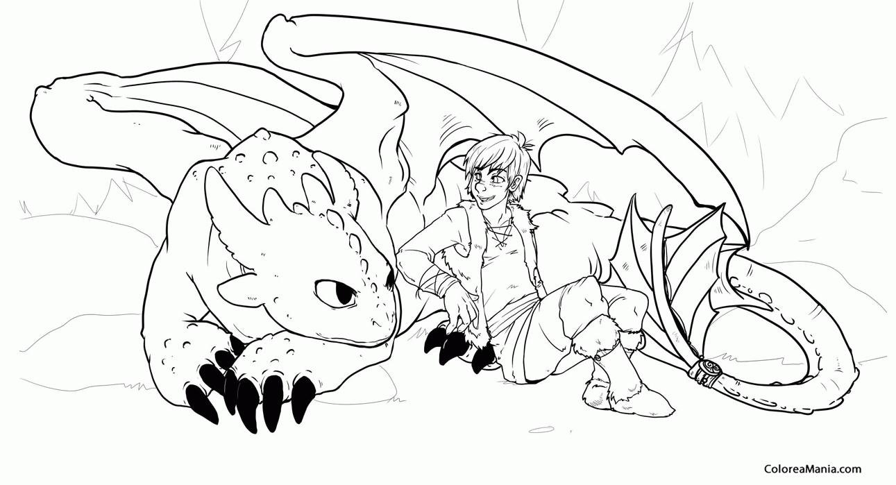 Colorear Desdentao con Hipo acurrucado (Cómo entrenar a tu dragón ...