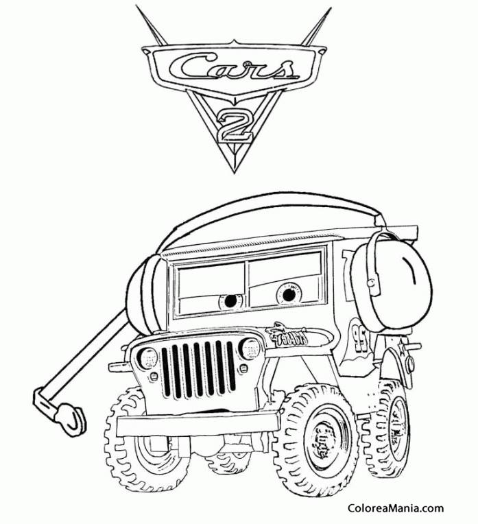 Colorear Sarge, jeep de Cars (Cars), dibujo para colorear ...