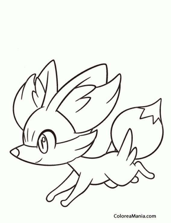 Colorear Fennekin corriendo (Pokemon), dibujo para ...