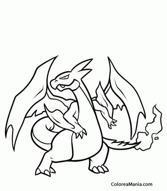 Colorear Mega Harizard X Pokemon Dibujo Para Colorear Gratis