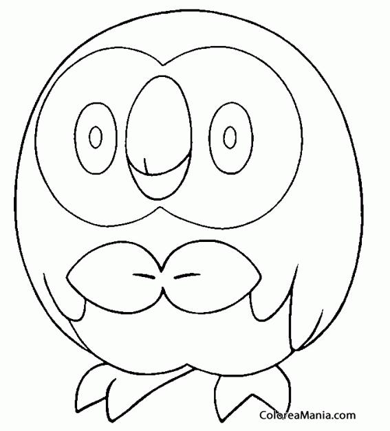 Colorear Rowlet. Pokemon Sol y Luna (Pokemon), dibujo para