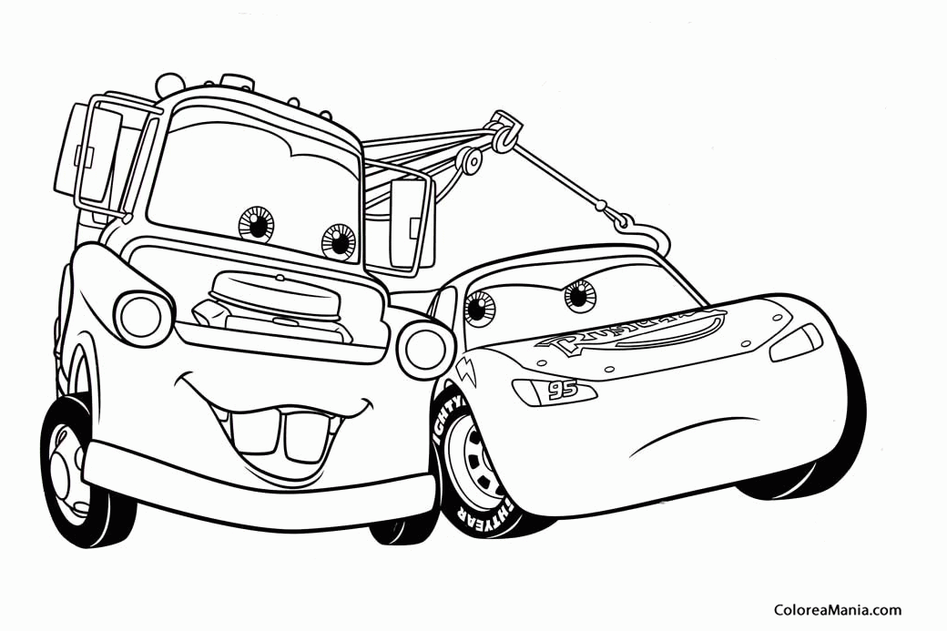 Colorear Mate ayuda a Rayo McQueen 2 Cars dibujo para colorear