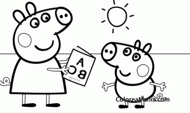 Colorear Peppa Pig Y George Jugando Peppa Pig Dibujo Para