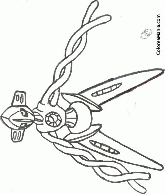 Colorear Deoxys ataque (Pokemon), dibujo para colorear gratis
