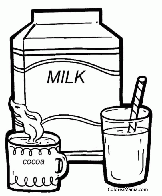 Colorear Vaso De Leche Y Cacao Bebidas Dibujo Para Colorear Gratis