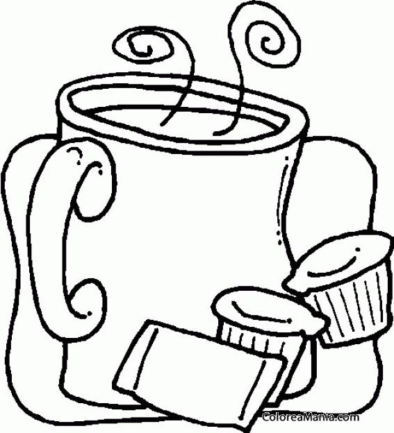 Colorear Jarra De Café Con Leche Bebidas Dibujo Para