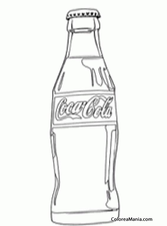 Colorear botella de coca cola bebidas dibujo para colorear gratis