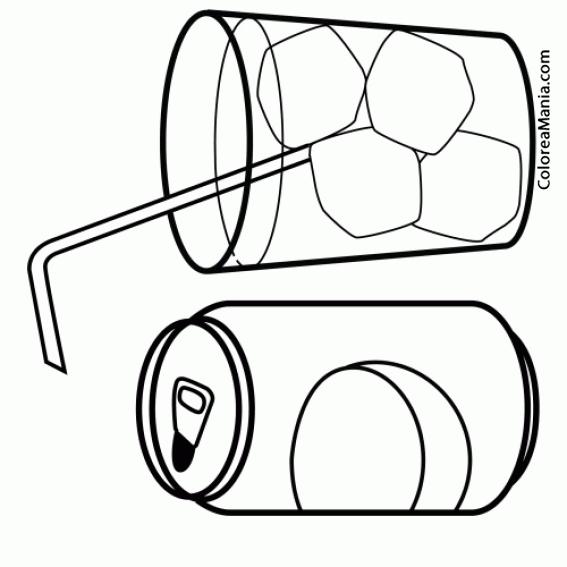 Colorear Lata De Refresco Y Vaso Bebidas Dibujo Para Colorear Gratis