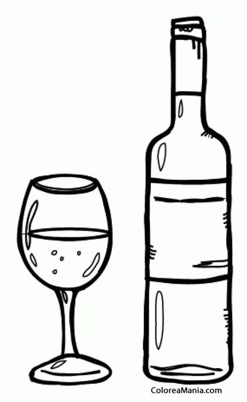 Colorear Botella Y Copa De Vino Bebidas Dibujo Para Colorear Gratis