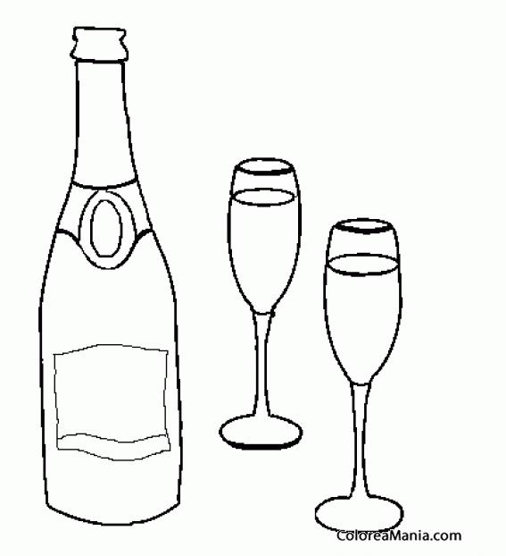 Colorear Botella champán y dos copas (Bebidas), dibujo ...