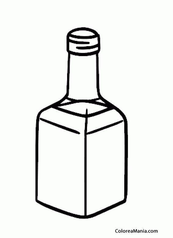 Colorear Botella de Licor Bebidas dibujo para colorear gratis
