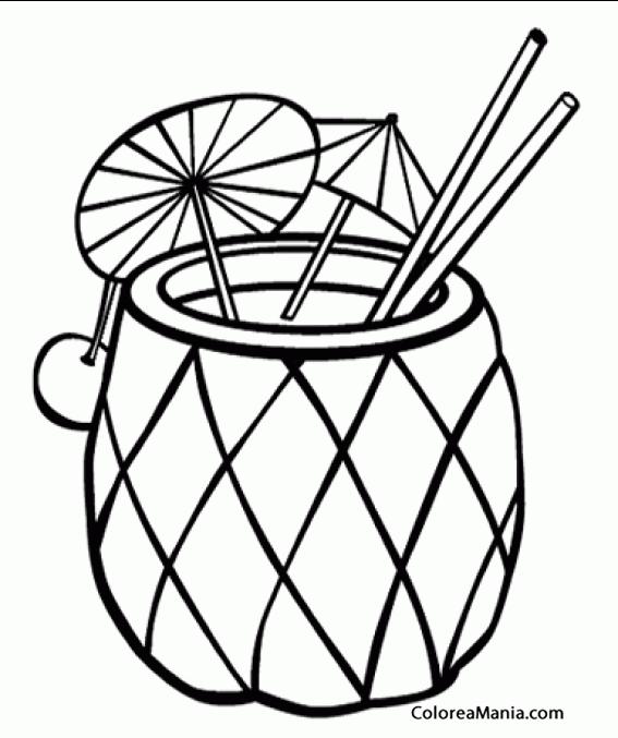 Colorear Coctel De Piña Bebidas Dibujo Para Colorear Gratis