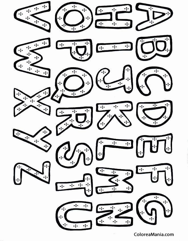 Colorear Afabeto, de la A a la Z con adornos (Abecedarios), dibujo ...