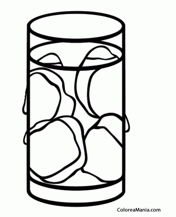 Colorear Vaso Con Cubitos De Hielo Bebidas Dibujo Para Colorear