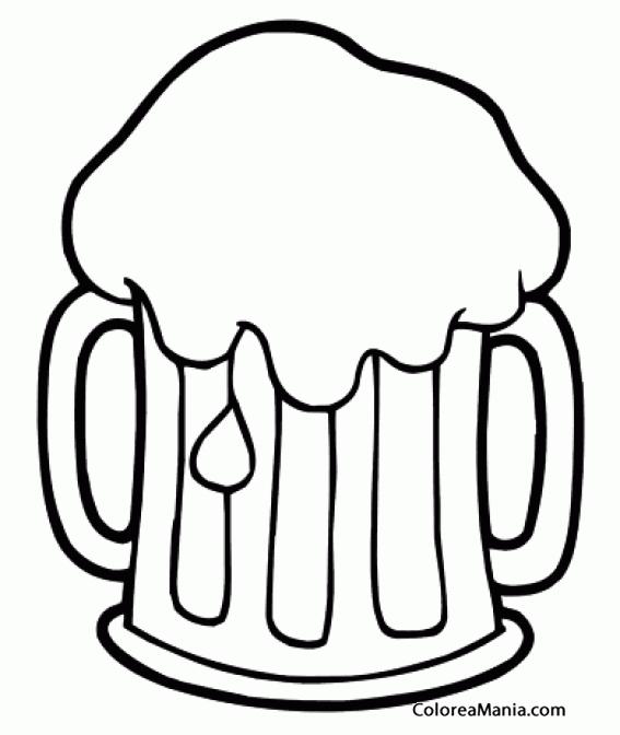 Colorear Jarra de cerveza espumosa (Bebidas), dibujo para ...