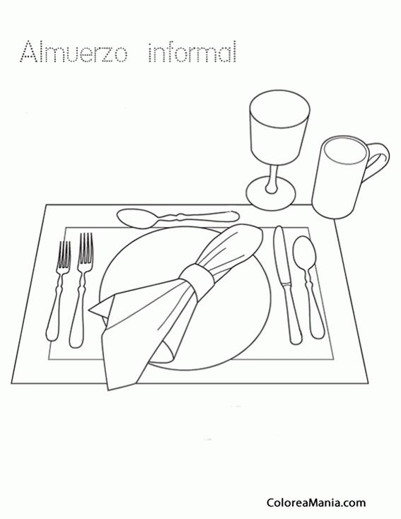 Colorear Cubiertos Para Almuerzo Informal La Mesa Dibujo Para