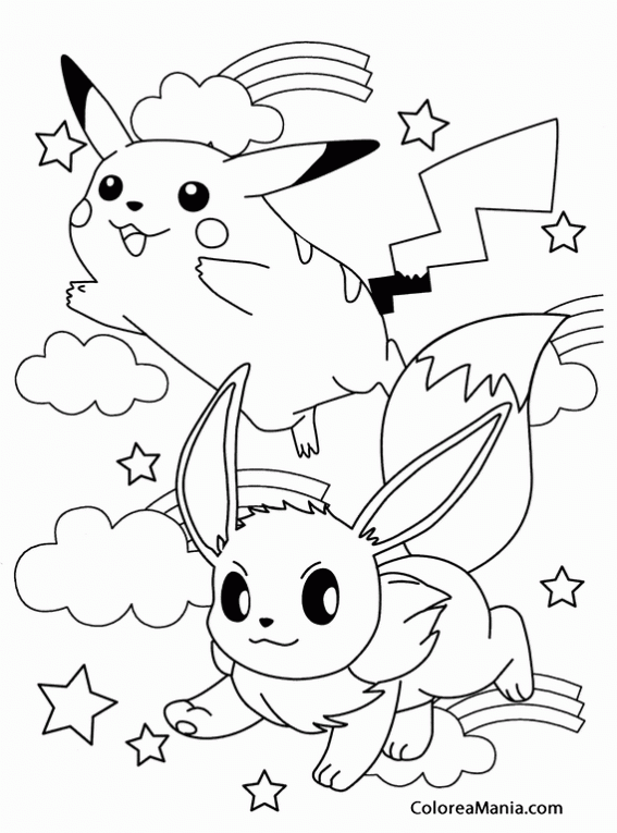 Colorear Pikachu Y Eeve Pokemon Dibujo Para Colorear Gratis