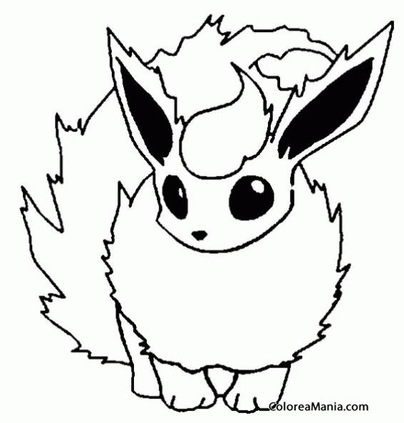 Colorear Pokemon Flareon Pokemon dibujo para colorear gratis