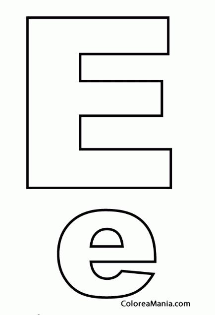 Colorear Letra E, e (Abecedarios), dibujo para colorear gratis