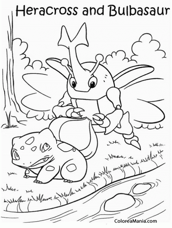 Colorear Pokemon Bulbasaur y Heracross (Pokemon), dibujo para ...
